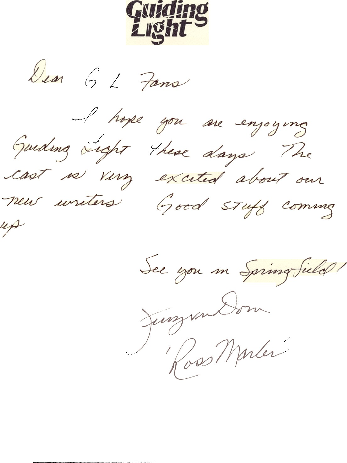 Jerry ver Dorn sends SPRINGFIELD a letter!